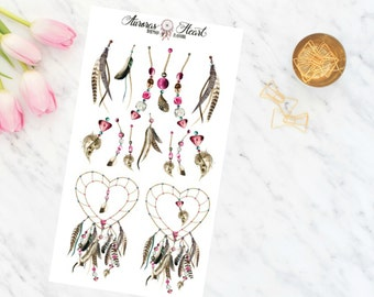 Dreamcatchers & Charms watercolor planner stickers boho