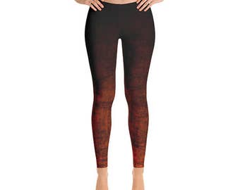 Orange Ombre Leggings - Grunge Orange and Black Leggings, Ombre Tights, Yoga Leggings, Yoga Pants, Stretch Pants