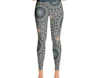 High Waist Womens Leggings. Nature Leggings. Brown and Green Mandala Yoga Leggings. Yoga Pants. Yoga Tights