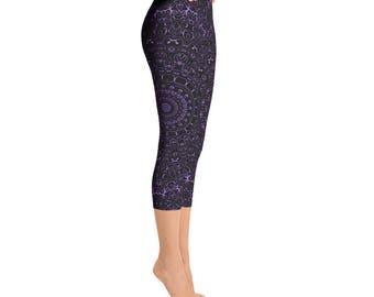 Capris - Amethyst Yoga Pants, Black Leggings with Purple Mandala Designs for Women, Printed Leggings, Pattern Yoga Tights