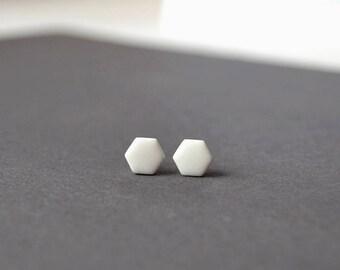 Hexagon studs, geometric earrings, geometric studs, hexagon earrings, White studs, matte white studs, small earring mens earring, mens studs