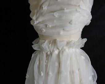 Strella Fabrics LTD White Organza with Floral Appliqués