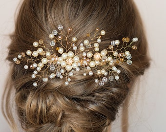Bridal Hair Comb Ivory Hair Comb Gold Hair Comb Bridal Headpiece Ivory Pearl Comb Wedding Headpiece Boho Bride Wedding Day Accessories