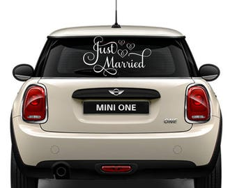 Just Married Car Decal, Just Married Sign for Car, Wedding Car Decoration, Wedding Car Decal, Custom Just Married Sign