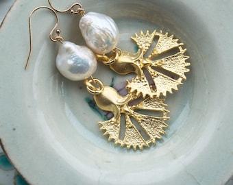 Large Boho earrings, Gold Byzantine earrings