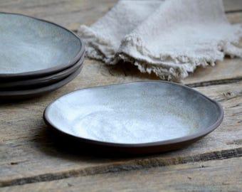 Organic farmhouse plates set of 4 wabi sabi pottery
