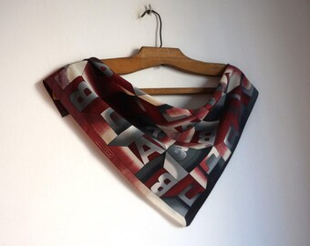 Letters print small square scarf, burgundy, gray and white polyester neck kerchief, bag handle adornment, vintage fashion accessories