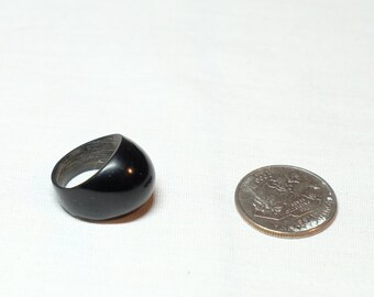 black wood domed ring approximately size 5.