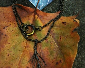Evergreen Sprig, Antiqued Brass Chain and Charm, Forest Child Necklace