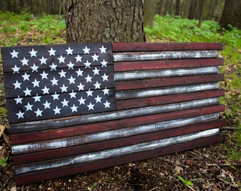 "Free Shipping!* American Wood Flag 38""x20"" Wooden Flag 