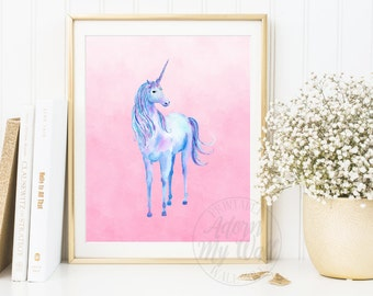 Unicorn Wall Art, Unicorn Printable, Unicorn Print, Unicorn Gift, Girls Bedroom Art, Printable, Nursery Decor, Instant Download, Prints