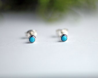 Turquoise stud earrings - Turquoise earrings stud - Sterling silver and turquoise earrings