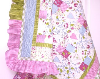 Ruffle Baby Girl quilt, baby quilt, baby blanket, Pink baby quilt girl, modern baby quilt, patchwork quilt, baby girl bedding, flower quilt