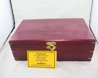 South American Purple Heart Jewelry/Keepsake/Storage Box                            No.178