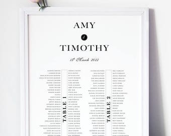 Classy Clean WEDDING TABLE SEATING Chart, Printable Charts or Printed Charts, Custom Tables No, Sizes, Colors, Elegant Table Seating Charts