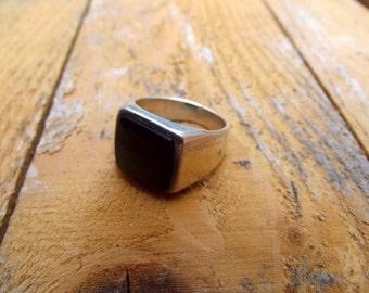 925 sterling silver ring, signet for men, sel ring, onyx signet ring,silver stone ring, signet men ring,men onyx ring, ring.