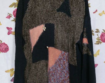 Vintage 1980s oversized slouchy chenille knit abstract jumper dress M