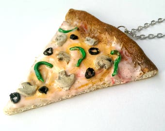 Mushroom Pizza Necklace - Foodie Vegan Food Jewelry