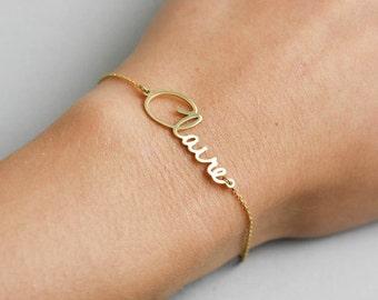 Gold Name Bracelet, Custom Name Bracelet, Personalized Bridesmaid Gift, Gold Bridesmaid Bracelet, Customized Bracelet, Gold Bracelet, SB0181