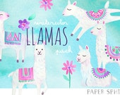 Watercolor Llama Clipart | Alpaca Nursery Art - Tribal Animals and Flowers - Instant Download Digital PNG Files