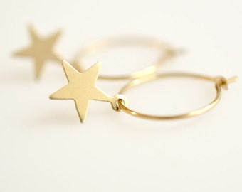 Silver Star Earring/ Gold Star Earring/ Hoop Earring With Star Charm/ Star Hoop Earrings, MC-E1002