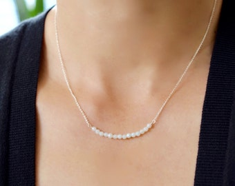 Amazonite Bead Bar Necklace, Amazonite Gemstone Bead Bar Necklaces, Delicate Gemstone Necklace, Minimal Gemstone Bead Bar Necklace