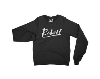 Rebel Attitude Mens Sweater - Organic Cotton Raglan Sleeve Jumper White/Black Slogan Graphic Print