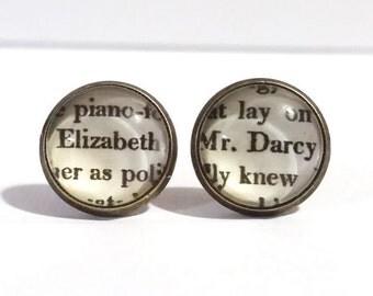 Pride & Prejudice  Earrings, Bronze Stud, Mr Darcy and Elizabeth Earrings