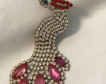 Vintage Czech Rhinestone Pelican Pin, Rhinestone Pelican Brooch, Crystal Rhinestone Brooch, Pelican Rhinestone Pin, Estate Jewelry