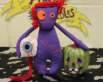 Purple Horror Plushie by Pins & Needles, Creepy Cute, Scary Doll, Goth Doll, Gothic Present, Freaky Doll, Halloween Doll, Creepy Cute