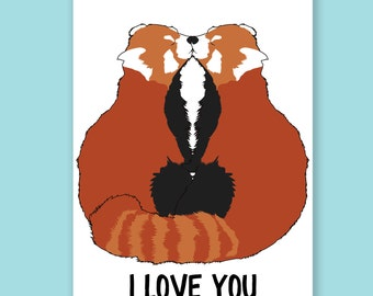 I Love You Red Pandas | Valentine's Day Card