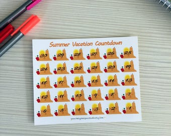 Summer Vacation Countdown Planner Stickers