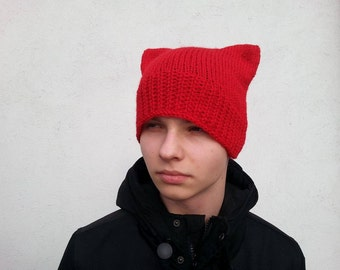 Red Cat Hat,  Cat Hat,  Knit Hat,  Knit Pussy Hat, Handmade Red Cat Hat,   Uniwersal Hat,  Uniwersalcathat,  Gift to Her,   Ready to ship