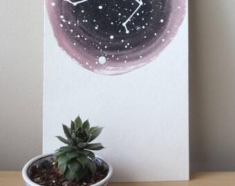 Libra zodiac watercolor painting