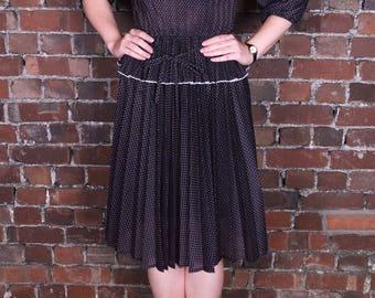 Vintage 70's Black and White Polka Dot Gypsy Dress Ruffle Neckline Midi Length