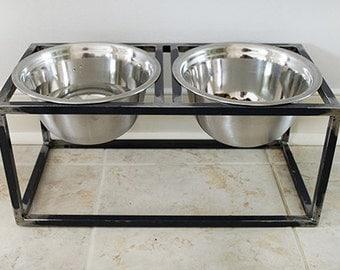 industrial style dog bowl holder dog feeder raised dog feeder