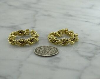14k Gold Rope Earrings (pierced)