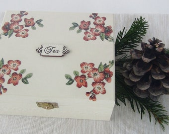 Vintage Wooden Tea Box Gift for Mother Day, Tea Bag Storage Box, Birthday Gift, Kitchen Organizer, Shabby Kitchen Decoration, Decoupage Box