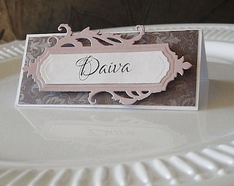 Wedding Place Card - Escort Card - Vintage Place Card - Floral Place Card -Pink Wedding Stationery - Name Card - Burlap Place Cards