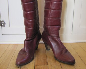 1970's Etienne Aigner Quilted Leather High Heel Boots, Size 6, Eitenne Aigner, High Heel, Boots, Antic Red, Burgandy, Oxblood, Leather