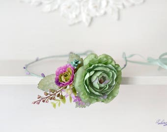 Wedding headband flower green mint head wreath purple green crown Boho bridal crown Summer wedding flowers accessories hair Crown mint
