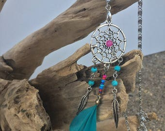 Playful and bright long necklace dream catcher with faux feather and feather charms