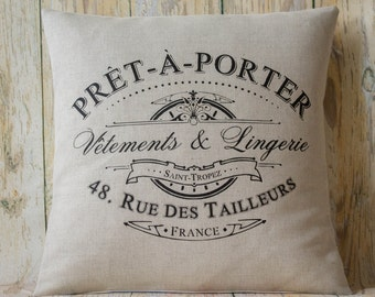 "Closing Sale!! Vintage style linen 16"" cushion/pillow cover *Pret A Porter* Laura Ashley shabby chic"