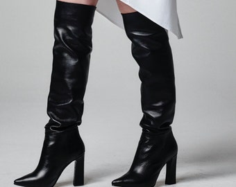 High Heels Boots, Thigh High Boots, Sexy Boots, High Boots, Knee High Boots, Black Leather Boots, Over the Knee Womens Boots, Rain Boots