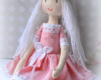 Doll rag Rag doll Jessie Doll handmade Doll blonde  Christmas gift birthday Doll of the interior of the room.Doll dress in coral.