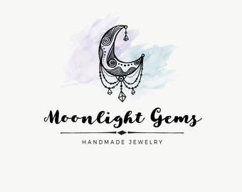 Moon logo design - Moon premade logo - Watercolor logo - Jewelry shop logo - Gyspy logo design - Premade logos - watercolor design