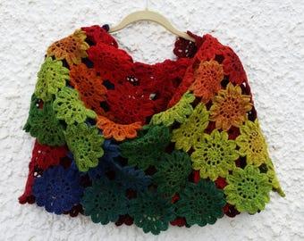 Japanese Flowers Crochet Scarf