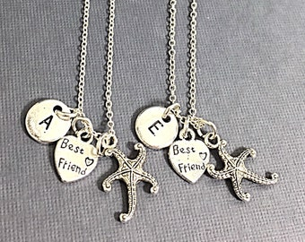 Set of 2 BFF Necklace, Silver Best Friends Necklaces - Set of Two Friendship Necklaces, BFF Charm, Best Friend, Friend Gift,Best Friend bff