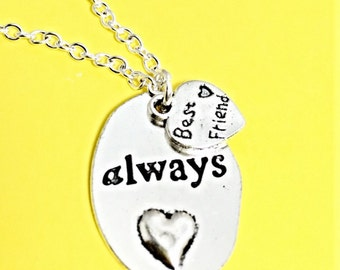 Always Friends Necklace, always charm,  Best Friend necklace, Silver Always Pendant,  Always Harry Potter,Best Friend Jewelry, bff gift