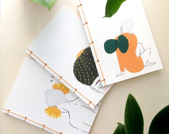Cactus illustrated hand-bound notebook